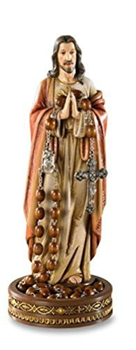 - Avalon Gallery Sacred Heart of Jesus Rosary or Jewelry Holder 8 1/2 Inch Resin Statue of Christ