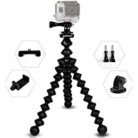 MiPremium ProFlexPod G1 Flexible Tripod stand kit with (FREE Tripods Adapter, Dual Mount, Smartphone Clip), Bendy Spider Tripod for GoPro Hero Session Black Silver, Smartphones & Action Sports Cameras