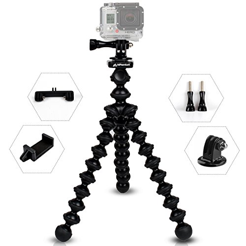 MiPremium ProFlexPod G1 Flexible Tripod stand kit with (FREE Tripods Adapter, Dual Mount, Smartphone Clip), Bendy Spider Tripod for GoPro Hero Session Black Silver, Smartphones & Action Sports Cameras (Hero Fence Mount Pro 4 Go)