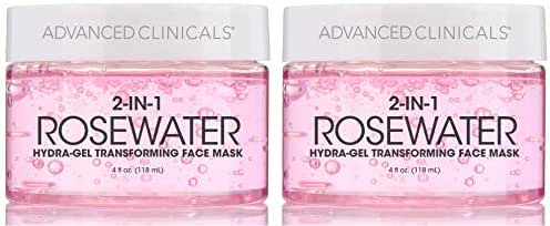 Advanced Clinicals Rosewater Mask for Fine Lines, Dry Skin, Puffiness. 2-in-1 overnight sleep mask with Bulgarian Rose, Coconut Oil, and Natural Fruit Extracts. 4 fl oz (118ml) (Two - 4oz)