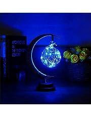 De betoverde maanlamp - hangende LED-maanlamp nachtlampje met standaard, maanlamp halve maan bal licht, slaapkamer nachtkastje decoratie kinderen geschenken USB/batterij aangedreven (blauw)