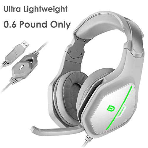 Computer Headset, FD X5 USB Lightweight Over Ear Headphones with MIC, 7.1 Stereo Bass Surround, Noise Reduction, Volume Control and LED Green Light for Computer, PC, Laptop, Mac (Grey)