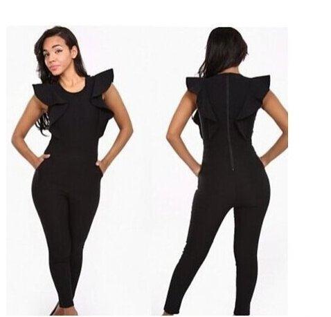 Black Siamese Trousers New Fashion Lotus Sleeve Bandage Jumpsuit Pocket