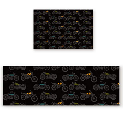 KAROLA 2 Piece Kitchen Mat Non-Slip Doormat Bathroom Runner Rug Set - Motorcycle 19.7