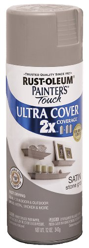 Rust-Oleum 249855 Painter's Touch 2X Ultra Cover, 12-Ounce, Satin Stone Gray ()