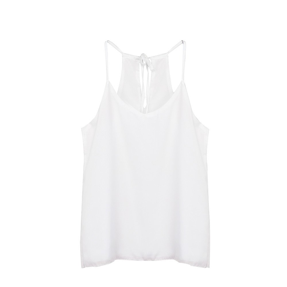 Tank Top for Womens V Neck Sexy Camisoles Chiffon Vest T Shirt Summer Strappy Crop Tops Camis Blouse White