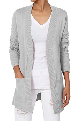 Gms Patch - TheMogan Women's Open Front Pockets Knit Sweater Cardigan Grey Mist M