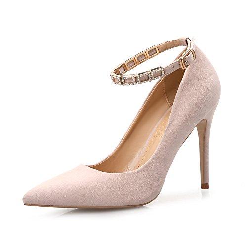 ZHANGYUSEN Im Frühjahr und Sommer, die Bandagen und High High High Heels, die Nackten Frauen Hingewiesen, die Schwarze Einzelne Schuhe, die Bänder, Schuhe der Frauen. 7 CM nackt Farbe (Wasser bohren) 66d008