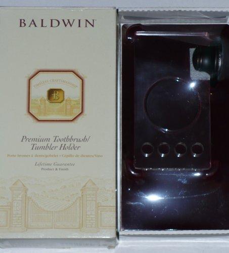 Baldwin Premium Toothbrush / Tumbler Holder: Venetian Bronze, 100% Solid Brass & Glass