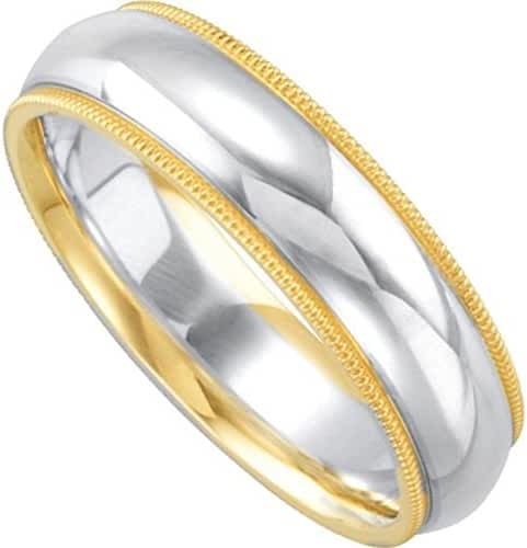 Sterling Silver and 14k Yellow Gold 7mm Comfort Fit Band