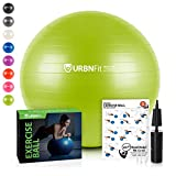 URBNFit Exercise Ball (Multiple Sizes) for Fitness, Stability, Balance & Yoga - Workout Guide & Quick Pump Included - Anit Burst Professional Quality Design (Green, 55CM)