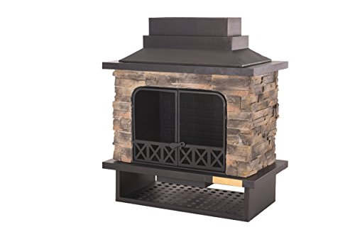 Sunjoy L-OF079PST-1 Farmington Steel and Faux Stack Stone Outdoor Fireplace - 42 Inch x 24 Inch x 40 Inch