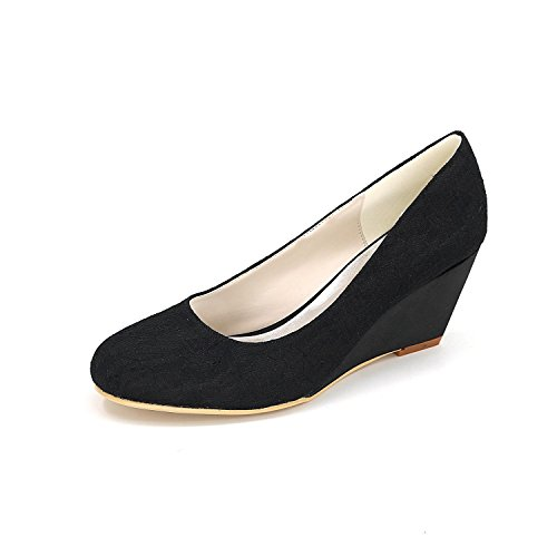 L@YC Women Wedding Shoes Comfortable Slope Heels Autumn and Winter 9140-01a & Satin Evening Dress Black 1yIt3F1C