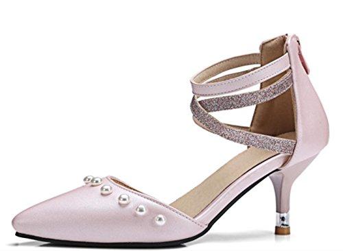 Scarpe basse della bocca delle donne di YCMDM Scarpe singole dei nuovi sandali a punta del piede , pink , 35