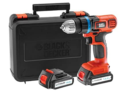 BLACK+DECKER EGBL14KB-QW Perceuse visseuse sans fil - Technologie Lithium-ion - Livrée en coffret, 14.4V, 2 Batteries