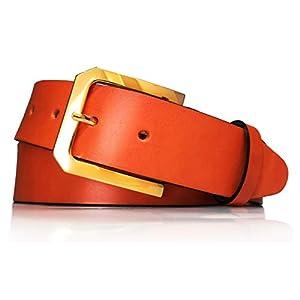 almela - Cinturón de mujer en piel legítima - Hebilla oro - Cuero vaquetilla - 4 cm de ancho - Vestidos, vaqueros, jeans… | DeHippies.com