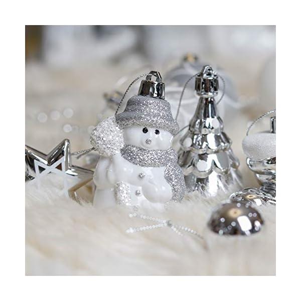 Valery Madelyn Palle di Natale 50 Pezzi di Palline di Natale, 3-5 cm congelato Inverno Argento e Bianco Infrangibile Ornamenti Palla di Natale Decorazione per la Decorazione Dell'Albero di Natale 6 spesavip