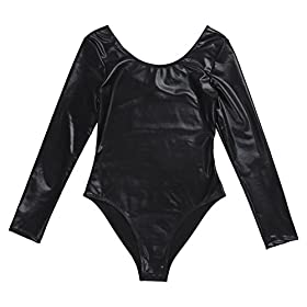 - 418riPpi7JL - YiZYiF Women's Shiny Leather Dance Gymnastics Work Out Swimsuit Leotard Bodysuit