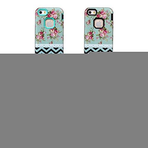 iPhone 5/5s Fall Lantier Romantic Rose mit blauen Wellen Hard Case & 3 in 1 Hybrid-Rüstungs-Kasten High Impact-harte Abdeckung Silikon-Kasten-Blumen-Art-Abdeckung für iPhone 5/5s Blau