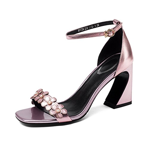 Heel Flower Decoration Summer Pink Rough Toe Open Sandals Fashion Shoes High Heeled Female 5qfcnc60