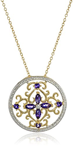 18k Yellow Gold Plated Sterling Silver Genuine African Amethyst and Diamond Accent Floral Filigree Pendant Necklace, 18