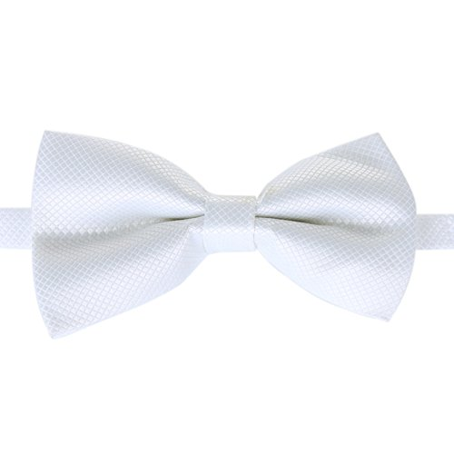 (Classic Male Femal Bowtie Fashion Solid Color Neckwear Unisex Mens Women Bow Tie Polyester 6CM White)