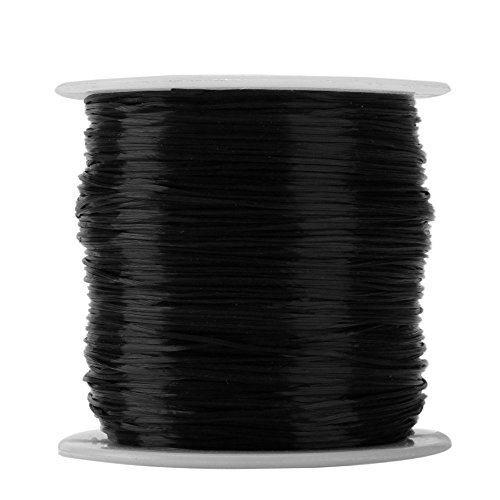 (wanjin 1mm Elastic Stretch Polyester Crystal String Cord for Jewelry Making Bracelet Beading Thread 60m/roll (Black ))