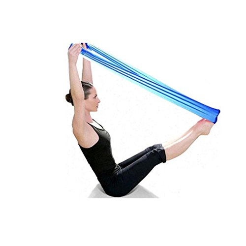 Welcomeuni Pilates Yoga Straps Workout Aerobics Stretch Band Tensile Band Elastic Band (Blue)