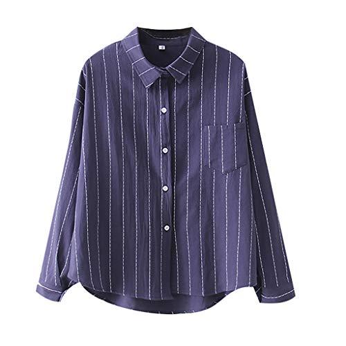 Womens Sexy Tops 2019, YEZIJIN Women Fashion Long Sleeve Striped Print Korean Shirt Casual Loose Blouse Blue -