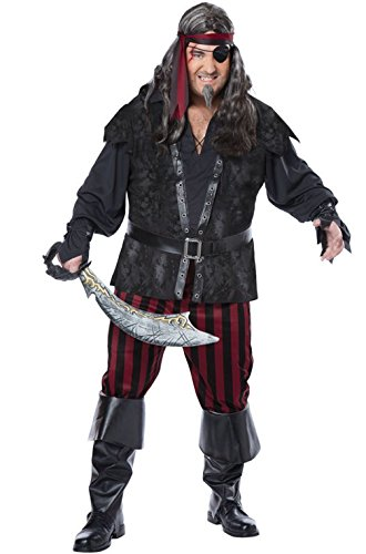 Mememall Fashion Ruthless Rogue Pirate Buccaneer Plus Size Adult Men Costume (Beetlejuice Plus Size Adult Mens Costume)