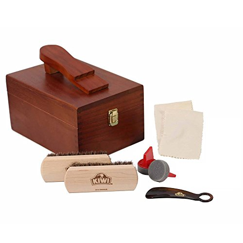 Kiwi Select Shoe Shine Care Kit Valet II Wooden Box w/ 8 pc Content - NO SHOE POLISH INCLUDED