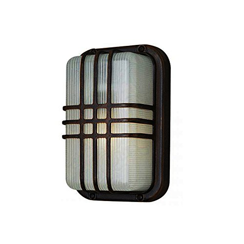 Ribbed Decorative Fixture - Transglobe Lighting PL-41104 BK Outdoor Bulkhead Fixture with Clear Ribbed Polycarbonate Shade, Black Finished