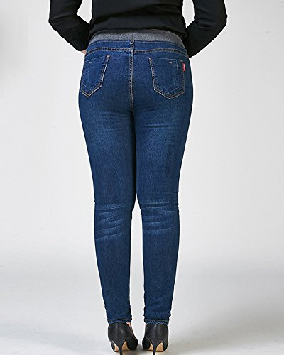 Slim Skinny Donna Eleganti Jeggings Alta Jeans Denim Vita Marino Pantaloni Stretch Blu Raa4wZq