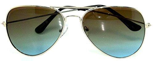 Aviator Style Gold Metal Frame Gradient Color Lens Sunglasses Brown Blue Color ( Gold - Gradient Sunglasses Blue
