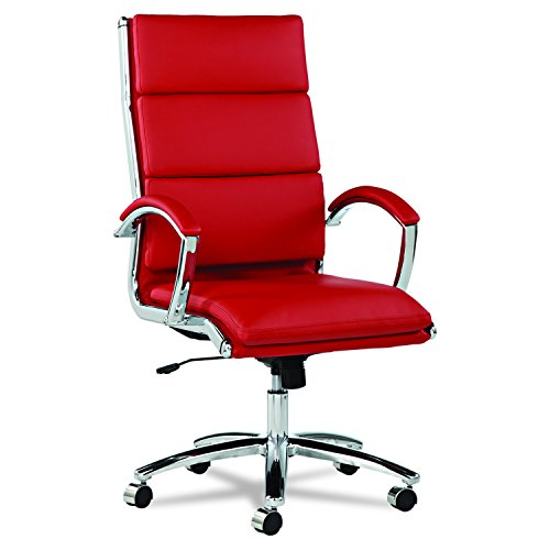 Alera Neratoli High-Back Swivel/Tilt Chair, Red Soft-Touch Leather by Alera