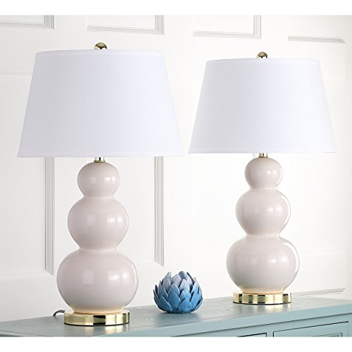 Safavieh Pamela Triple Gourd Lamp, Set of 2, Light Gray (Lamp Gourd Triple)
