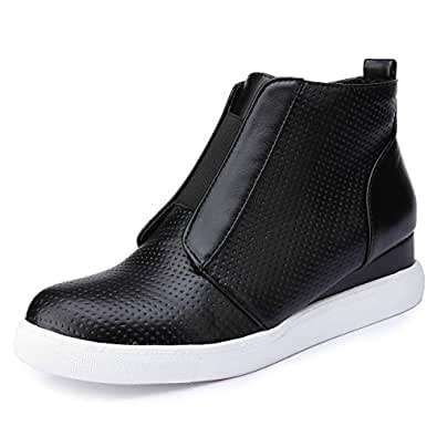 Catata Womens Classic High Top Platform Flat Sports Shoes Casual Slip On Zipper Wedge Sneakers Black Size: 6.5