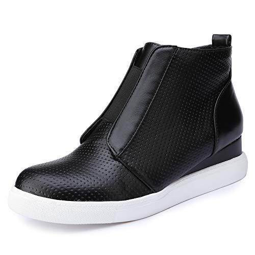 Catata Womens Classic High Top Platform Flat Sports Shoes Casual Slip On Zipper Wedge Sneakers Black