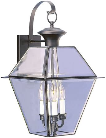 Livex Lighting 2381-04 Westover 3 Light Outdoor Black Finish Solid Brass Wall Lantern with Clear Beveled Glass