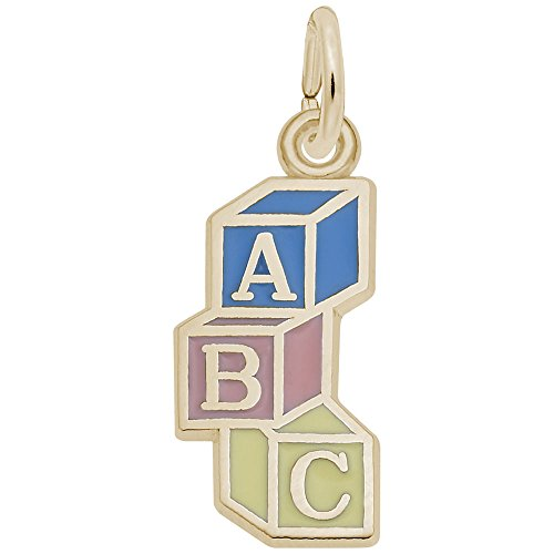 Gold Plated Abc Block Charm, Charms for Bracelets and Necklaces (Charm Blocks Abc)