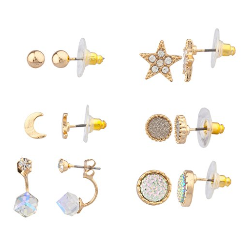 [Lux Accessories Goldtone twinkle Star Multi Earring Set (6Pc)] (Korean Costume For Boys Kids)