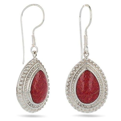 b9054e3cf248c cadeau de noel pour femme-Créateur de bijoux artisanal-bijou fait main- Boucles d'oreille en corail rouge de forme ovale sur fine monture en grains  d'argent
