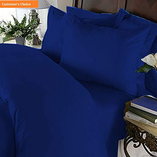 Royal Llama Silk Yarn - Mikash Soft 1500 Thread Count Egyptian 4-Piece Hotel Quality Wrinkle and Fade Resistant Coziest Set, Easy All Around Elastic Fitted Sheet, up to 16inch, Queen, Royal Blue   Style 84598684