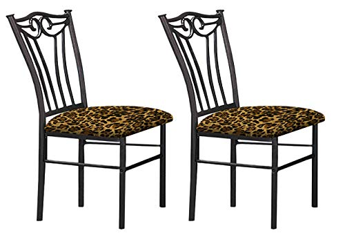 The Furniture Cove 2 Black Finish Metal Dining Chairs With A Leopard Animal Print Padded Seat Cushion Theme!
