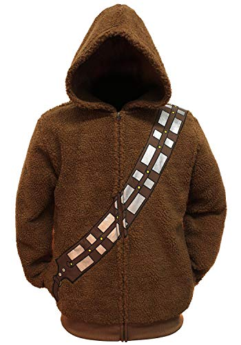 Star Wars Chewbacca Costume Hoodie Men's Adult Zip Up Sherpa Jacket (X-Large) -