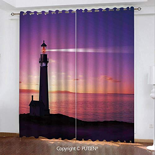 - Satin Grommet Window Curtains Drapes [ Lighthouse Decor,Lighthouse Searchlight Beam Through Marine Air at Night Lighting Tower Guidance, ] Window Curtain for Living Room Bedroom Dorm Room Classroom Ki