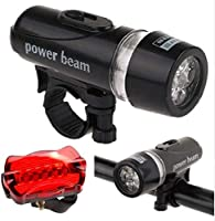 Bike Bicycle 5 Led Power Beam Front Head Light and Tail Torch Back Light