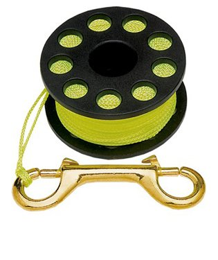 Trident Finger Reel with Brass Clip Wreck Scuba Diving Tech Spool 3 Sizes, SMALL 45 Ft (Safety Dive)