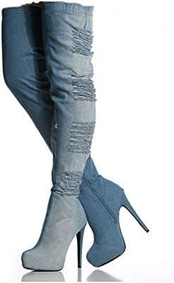 Hy Botas de Mujer, paño Botas de Moda de otoño/Invierno, Botines de tacón de Aguja de Fondo Grueso, Botas de Mujer hasta el Muslo, Botas elásticas, ...