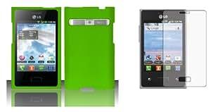 LG Optimus Logic L35G / LG Optimus Dynamic L38C - Accessory Combo Kit - Neon Green Hard Shield Case + ATOM LED Keychain Light + Screen Protector